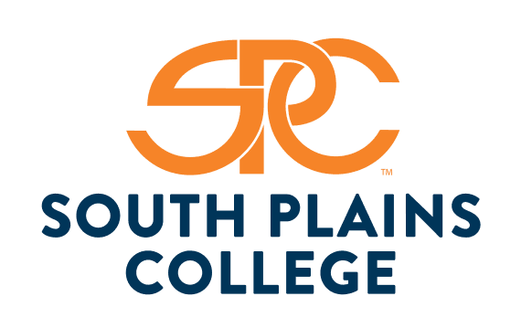 South Plains College in blue and orange